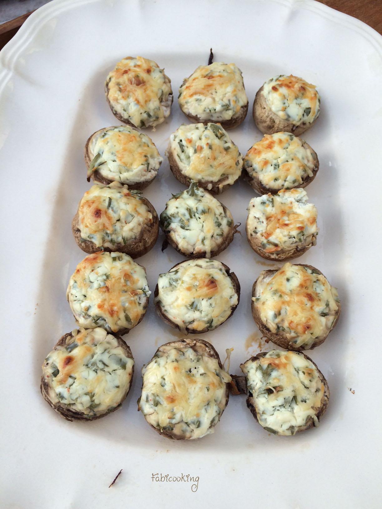 Champignons farcis fromage frais et fines herbes - FabiCooking