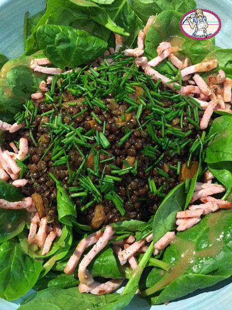 Salade lentilles pousses d'épinard