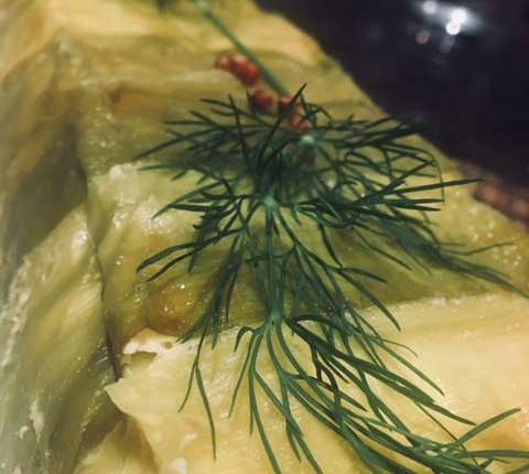 Terrine au poireau et aux deux saumons