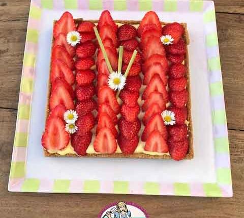 Tarte aux fraises et crème Magik à la citronnelle