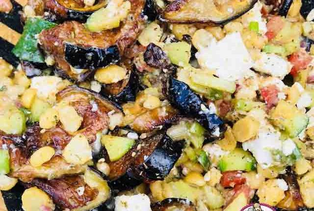 Salade de pois chiches et aubergine