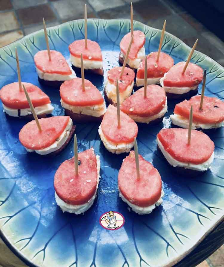 Petits gâteaux féta- pastèque