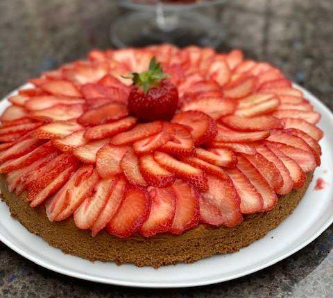 Tarte aux fraises, coco et fruit de la passion