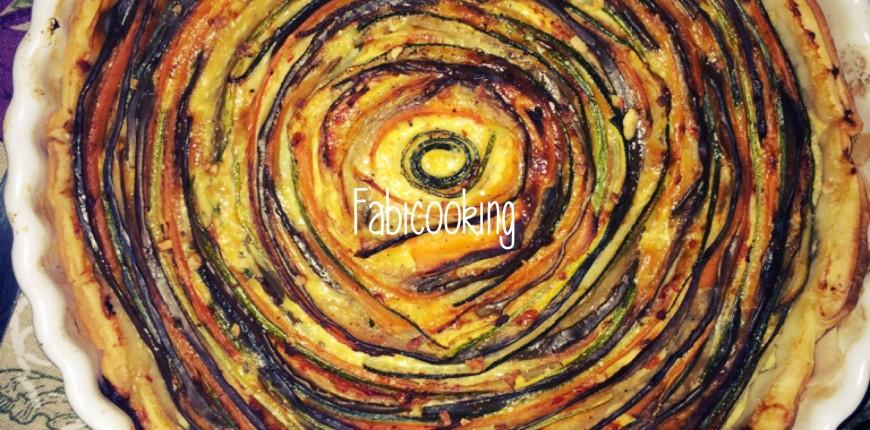 Tarte spirale aux légumes: courgettes, carottes, aubergine