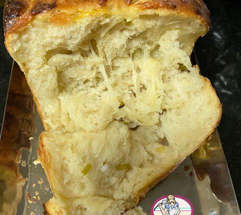 Pull apart bread à l'oignon vert, ail et fromage